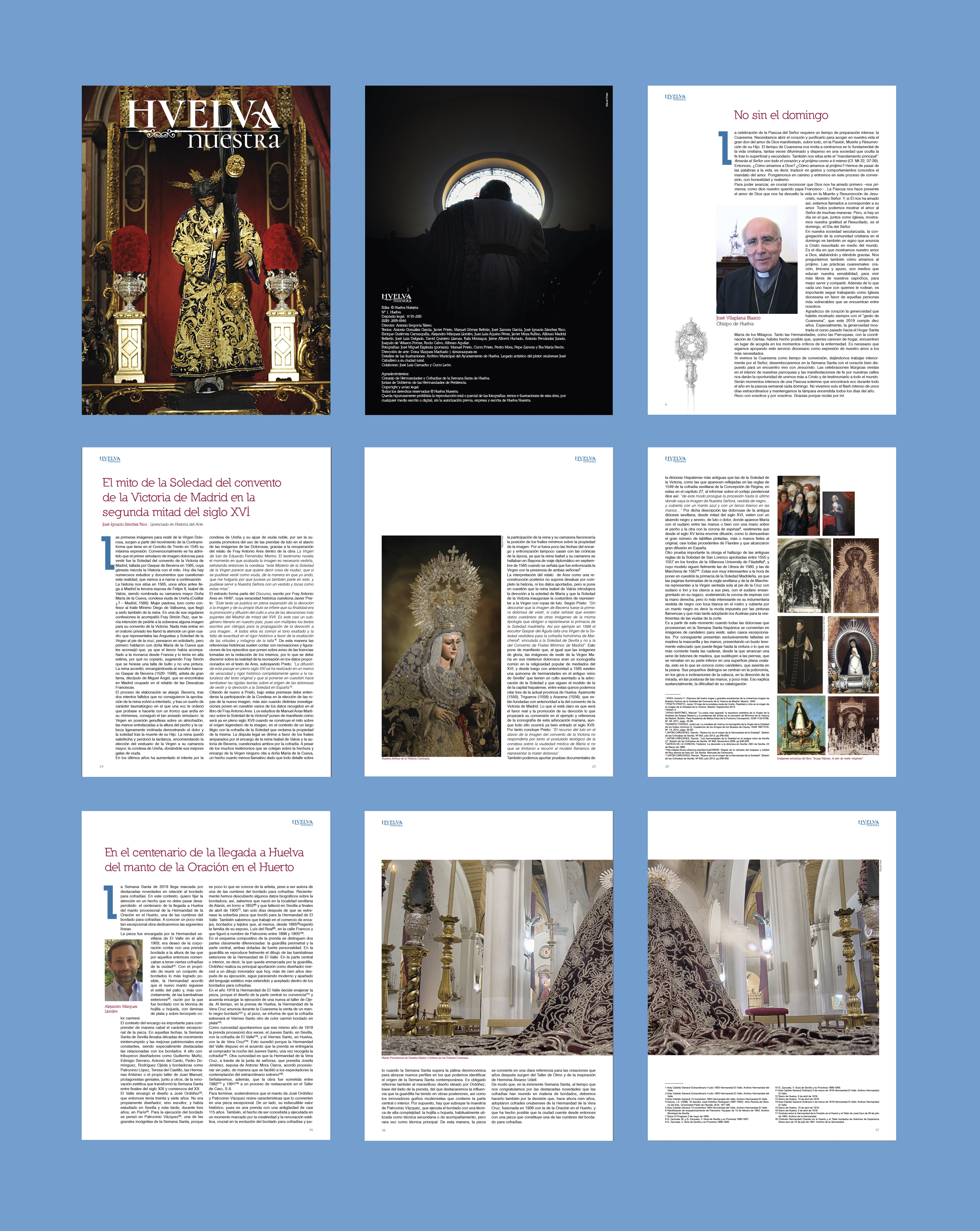 Diseño y maquetación de la primera revista de Semana Santa: Huelva Nuestra 2019.
